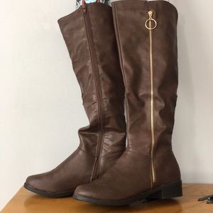 NWT SWS Brown Knee High Boots Women's Size 9